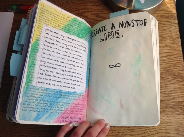 Looking For Alaska Page: We Are Infinite // Wreck This Journal 4