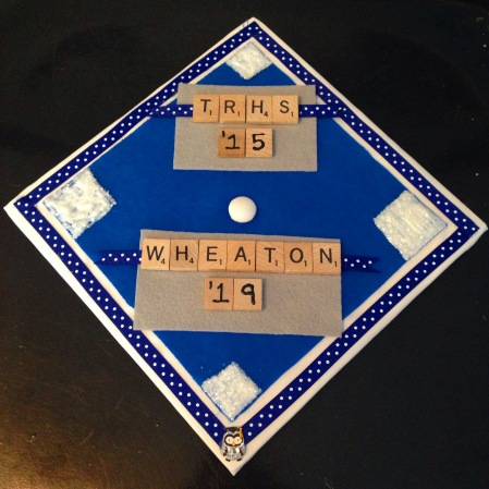 My graduation cap- yup, those are Scrabble letters!